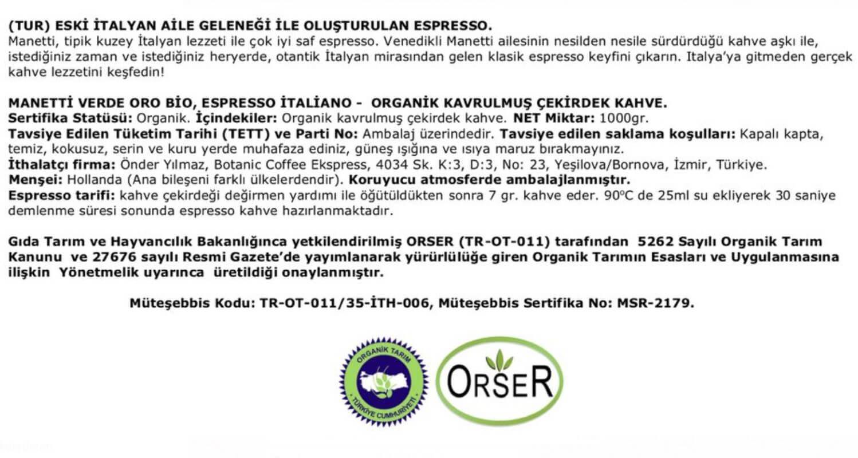 organik kahve belgesi